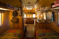 Vintage Airstream travel trailer decorated in vintage Ralph Lauren.   Craig Dorsey Photo