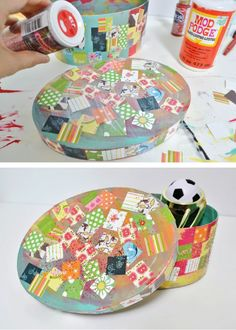 Easy Kids Craft – This Decoupage Treasure Box is an easy and super-fun project for your kids to create and decorate their own container for all their secret treasures.