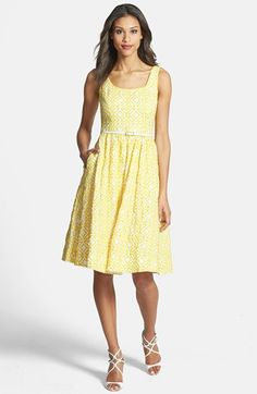 yellow jacquard fit and flare dress