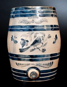 Exceptional CHARLESTOWN Stoneware Keg w/ Elaborate Incised Bird and Brushed Butterfly Decoration -- Lot 13 -- October 17, 2015 Stoneware Auction -- Crocker Farm, Inc.