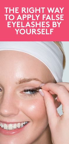 The Right Way to Apply False Eyelashes By Yourself | Before you head for the hills, know that applying fake eyelashes is way easier than you think (swear). Follow these pro steps, and with a little practice, you'll be able to brighten your eyes in no time—and add some drama to your look for a night out.