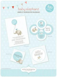 Style Me Gorgeous: {Printable Party Decor} Baby Elephant