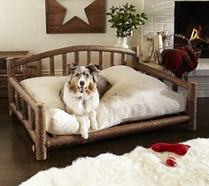 Log Dog Bed from Pottery Barn. Shop more products from Pottery Barn on Wanelo. Le Chihuahua, Large Pet Beds, Log Bed, Dog Area, Wood Dog, Pet Furniture, Dog Houses, Dog Accessories, Pottery Barn