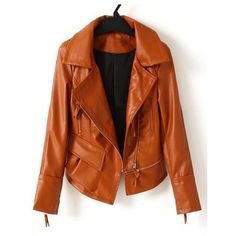 Brown Long Sleeve Zipper Pocket PU Leather Coat ❤ liked on Polyvore