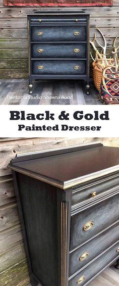 Black Dresser ~ Chest ~ Gray ~ Drawers ~ Black ~ Gold ~ Painted ~ Furniture - distressed - vintage dresser #ad #paintedfurniture
