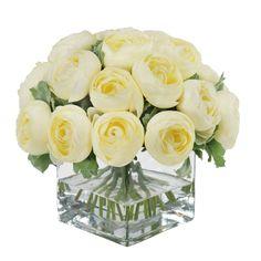 Jane Seymour Ranunculus Bouquet in Square Glass Vase - SDP203-CR