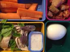 salad with chicken & homemade ranch, hard-boiled egg, carrots & baked apples with cinnamon & coconut oil