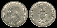 1936 US Commonwealth Of The Philippines QUEZON-MURPHY 1 Peso Coin 2