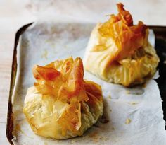 Chicken, mozzarella & pesto filo parcels BBC Good Food
