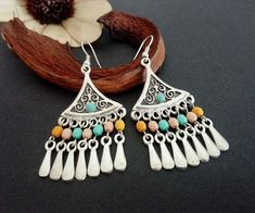 Your place to buy and sell all things handmade Tribal Earrings, Turquoise Earrings, Chandelier Earrings, Drop Earrings, Antique Earrings, Antique Silver, Silver Plate, Glass Beads, Ethnic