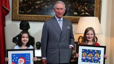 The Prince of Wales meets the winners of the Royal Mail's Christmas Stamps competition 31st October 2013