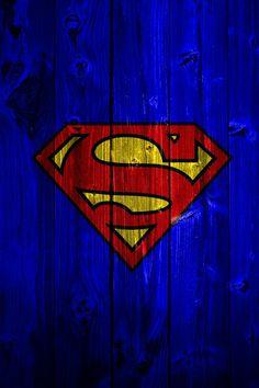 blue wood Superman logo