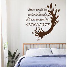 Quotes Chocolate Splash Kitchen Cafe Bar Home Decor Vinyl Art Wall Decor Nursery Room Decor Sticker Decal size 22x22 Color Brown