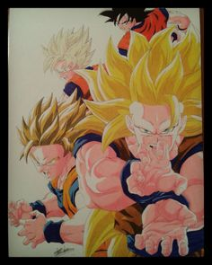 Prismacolor colored pencil drawing of Goku normal to SSJ3. Speed drawing: https://www.youtube.com/watch?v=FfcK5jPQM1M