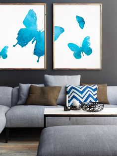 Set of 2 Butterfly prints Fine art Watercolor by LadyWatercolor