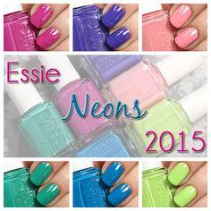 Essie Neon 2015 nail polish collection swatches via @alllacqueredup