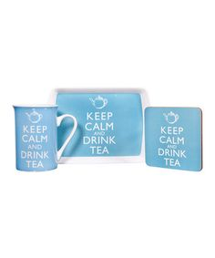 Take a look at this Blue 'Keep Calm' Three-Piece Tea Set by Home Essentials and Beyond on #zulily today!
