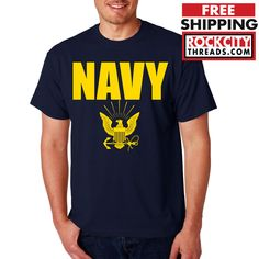 NAVY T-SHIRT GOLD Military Shirt Blend Seal US U.S.NAVY USNAVY USA Seal Tshirt #RockCityThreads #GraphicTee