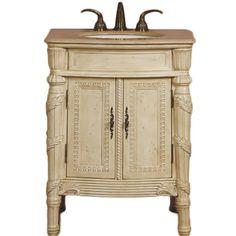 "26"" Elizabeth - Bathroom Vanity Single Sink Cabinet (White Oak Finish Travertine) :: Bathroom Vanities :: Bath Kitchen and Beyond"