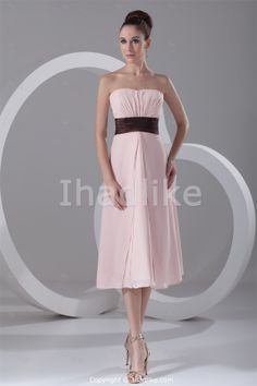 Pink Strapless Sleeveless A-Line Tea-Length Bridesmaid Dresses With Belt -Bridesmaid Dresses