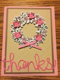 Stampin Up Circle of Spring Stamp and Wondrous Wreaths Framelit Thank You Card.