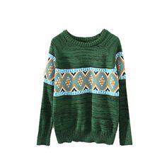 eb182919cbb0d2 Green Round Neck Tribal Print Fine Knit Sweater ST0230094-3 ( 18) ❤ liked