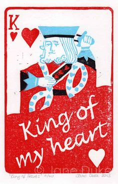 King of Hearts Lino Print - playing card by janedukeartist