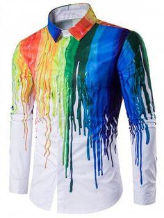 Turndown Collar Colorful Splatter Paint Print Long Sleeve Shirt