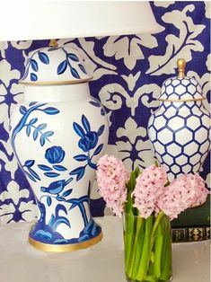 Canton lamp and ginger jar fronting Nouveau Pallazzo wallpaper all in navy via CAREER SPOTLIGHT: DANA GIBSON - Design Darling