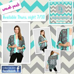 Kimono Cardigan available on the DAKOTA JACKSON BOUTIQUE Facebook pg. this Thursday, 7/10 @ 8 PM EST. LIKE us on Facebook. Also, shop our 4th of July 50% off sale right now!!!