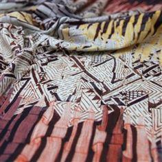 Tecido linho estampado algodão com elastano (italiano)
