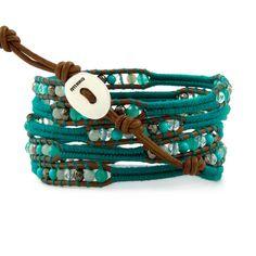 Turquoise Mix Wrap Bracelet on Henna Leather