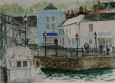 "Quayside Padstow, watercolour from ""Drawn to the Edge 2012."""