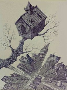 Rik Smits / Dutch Artist Church above City, blue ballpoint on paper, 50.65 cms