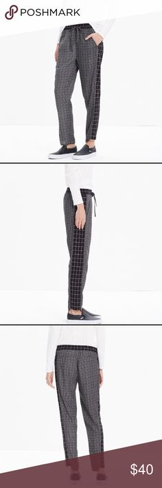 Size Small Madewell 'Graphgrid' Track Trousers Drawstring waist, bound hems, and menswear-inspired grid print in a light drapey fabric.  Like new condition.   Sits at the hip. Slight drop crotch, slouchy fit through hip, with a relaxed, slim leg. 100% rayon. Machine wash. Madewell Pants Track Pants & Joggers