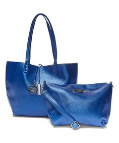Another great find on #zulily! Metallic Blue & Gray Reversible Tote & Crossbody Bag #zulilyfinds