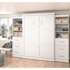 Bestar Boutique White Queen Wall Bed Set Queen Wall Bed and 2 x in.) Storage Units with 3 Drawers Each Queen Murphy Bed, Murphy Bed Ikea, Murphy Bed Plans, Murphy Bes, Murphy Furniture, Basement Furniture, Folding Furniture, Kitchen Furniture, Door Storage