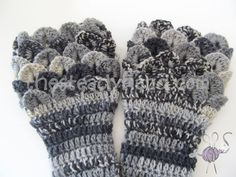 Black and Grey Crocodile Stitch Armwarmers K7 by TheSteadyHand, $20.00