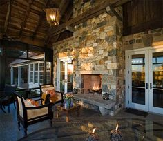 Marvelous Outdoor Fireplace Designs of Contemporary Outdoor Patio: Cool Outdoor Fireplace Designs With Traditional Porch Cream Soft Sofa And. Indoor Outdoor Fireplaces, Outdoor Fireplace Designs, Backyard Fireplace, Rustic Fireplaces, Outdoor Rooms, Outdoor Living, Fireplace Outdoor, Fireplace Ideas, Porch Fireplace