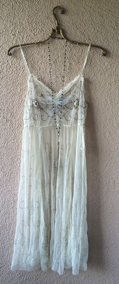 Free People Collectible mesh silk with beads gypsy goddess dress / Bohemian…