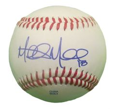 Mitch Moreland Autographed Rawlings ROLB1 Leather Baseball, Proof Photo