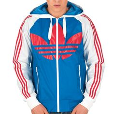 adidas Originals Mens Hooded Wind Breaker Bluebird/White