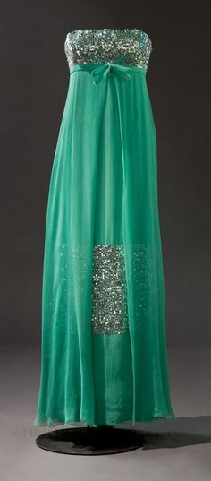 Title:  Evening Gown  Date:  Fall/ Winter 1964–65  Designer:  Bohan, Marc for Christian Dior  Material:  Silk chiffon crepe/ metal and plastic paillettes