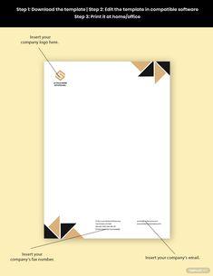 Letterhead Business, Letterhead Design, Letterhead Template, Stationery Design, Business Logo, Branding Design, Identity Branding, Visual Identity, Luxury Business Cards