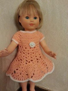 Tuto robe au crochet pour poupée Marie Françoise - tout le bonheur du monde Crochet Hats, Marie, Fashion, Crochet Doll Clothes, Crochet Dolls, Babydoll Dress Outfit, Barbie Knitting Patterns, Handmade Dolls, Knitting Hats