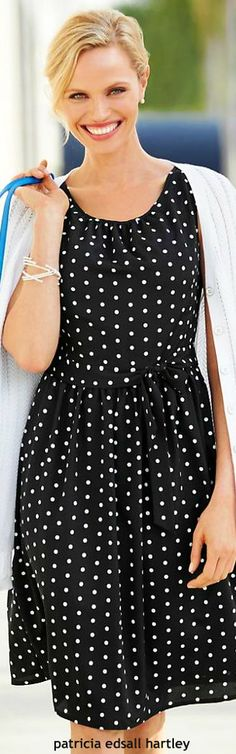 .polka dots black and white outfit/casual short dress