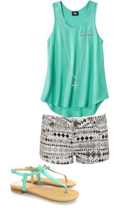 sleeveless tank tops, micro shorts and mint shoes