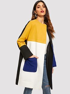 Open Front Color-Block Pocket Patch Coat from Love - W/O - Disdain Winter Outfits Women, Winter Coats Women, Coats For Women, Clothes For Women, Fall Coats, Mens Winter, Winter Wear, Iranian Women Fashion, Casual Skirt Outfits
