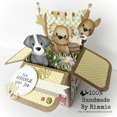 Ideas birthday box design pop up for 2019 Card In A Box, Pop Up Box Cards, Dog Cards, Kids Cards, Fancy Fold Cards, Folded Cards, Birthday Box, Birthday Cards, Marianne Design Cards