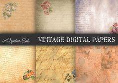 Ephemera Paper 6 Pack Vintage Digital Paper Set by UpstairsCats